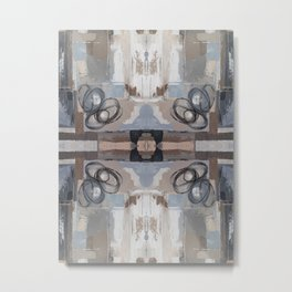 Taupe Grey Pink Mirror Abstract Metal Print