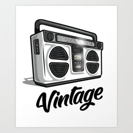 Vintage Boombox Graphic Art Print