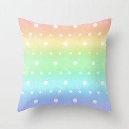 Rainbow polka Throw Pillow