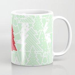Elegant Green Christmas Trees Holiday Pattern Coffee Mug