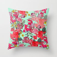 Antique Vintage Floral with Mint Green/Seafoam Background Throw Pillow