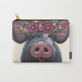 Pig Art, LuLu pig with flower crown art Carry-All Pouch