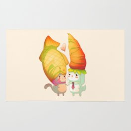 Taiyaki and carrots in love Rug