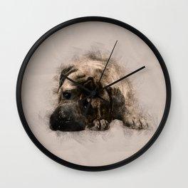 Bullmastiff Puppy Sketch Wall Clock