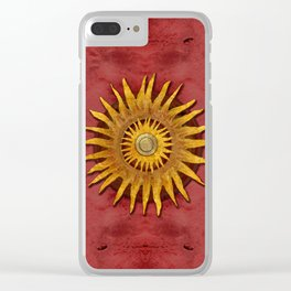 """""""Aztec Sun and pickled coral"""" Clear iPhone Case"""