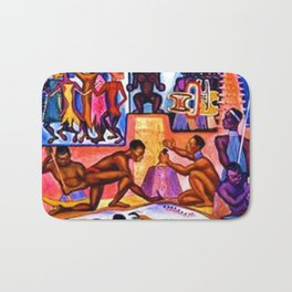 """African American Classical Masterpiece """"African American Slave History"""" by Hale Woodruff Bath Mat"""