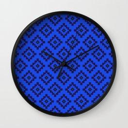 Blue Aztec Wall Clock