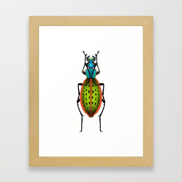 Green Dot Beetle Framed Art Print