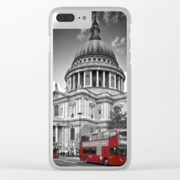 LONDON St. Paul's Cathedral & Red Bus Clear iPhone Case