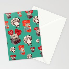 Cheesy Vintage Valentine's Day Card Pattern on Teal Stationery Cards