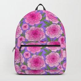 magenta pink peony line drawing floral on violet Backpack