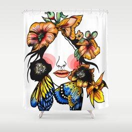 Flowres color face Shower Curtain