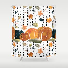 Trendy Pumpkin Rain Pattern Shower Curtain