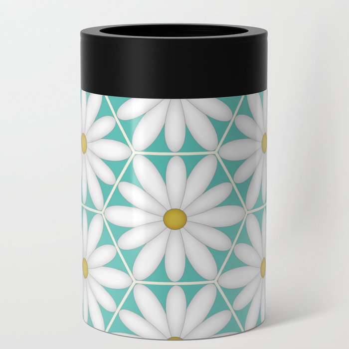 Daisy Hex - Turquoise Can Cooler