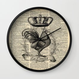 western country french chicken kitchen art farmhouse rooster Wall Clock