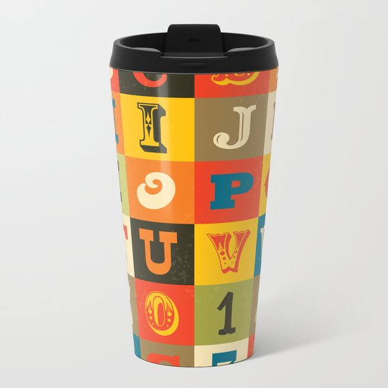 VINTAGE ALPHABET Metal Travel Mug