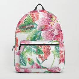 Pink Flowers Green Leafs pattern Backpack