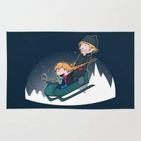 hobbes Area & Throw Rugs featuring A Snowy Ride by Perdita