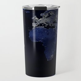 Earth at Night with the lights of most populated cities Travel Mug
