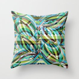 Moving Palms with Stripe Throw Pillow