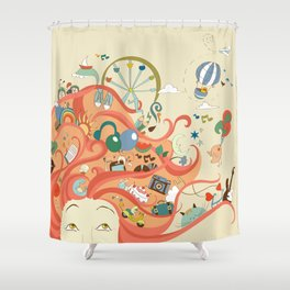 red-haired girl and her dreams about travel and vacation Shower Curtain