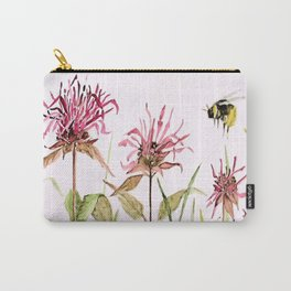 Flowers Bee Balm Pink Garden Wildflowers Nature Art Carry-All Pouch