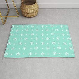 Seafoam Blue background with white snowflakes and stars pattern Rug