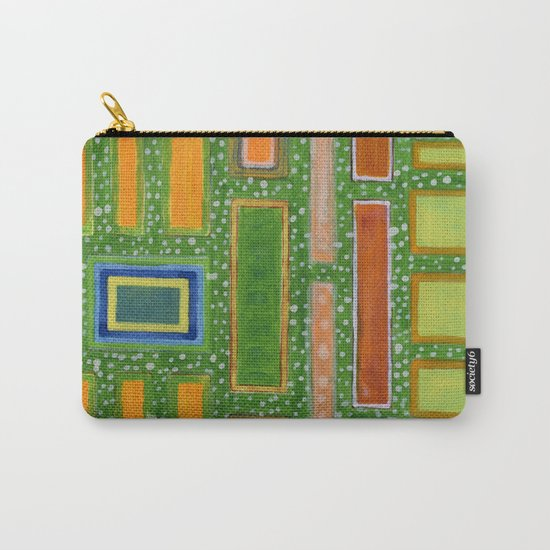 Filled Rectangles on Green Dotted Wall Carry-All Pouch