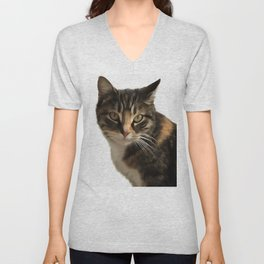 Tabby Cat With Ear Turned Sideways Unisex V-Neck