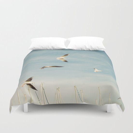 Seagulls Flying In The Sky Duvet Cover