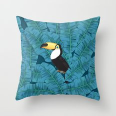 Toucan and banana leaves in blue Throw Pillow