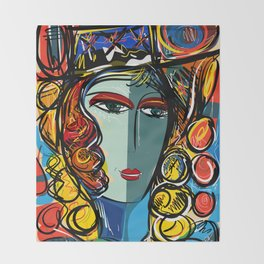 Portrait of a Girl with Hat French Pop Art Expressionism Throw Blanket