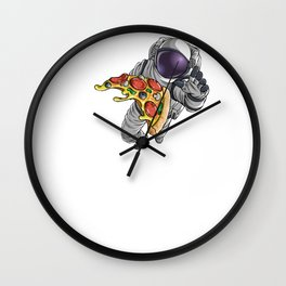 Spaced Out Astronaut Pizza Outserspace Science Geek Wall Clock