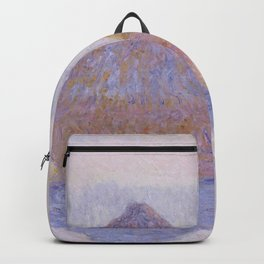 Haystacks, Effect of Snow and Sun - Claude Monet Backpack