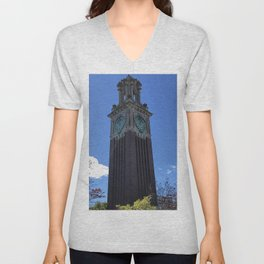 The Brown Clock Tower Unisex V-Neck