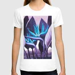 Birds of Paradise Temple of Flora Purple Turquoise T-shirt