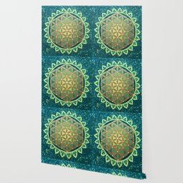 Flower of Life Mandala, Green and Gold Wallpaper