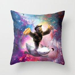 Cowboy Space Sloth Riding Axolotl - Hotdog Throw Pillow