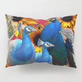 ORNATE BLUE PEACOCKS & GOLDEN SUNFLOWERS Pillow Sham