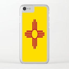 flag new mexico-usa,america,sun,Zia Sun symbol,New Mexican,Albuquerque,Las Cruces,santa fe,roswell Clear iPhone Case