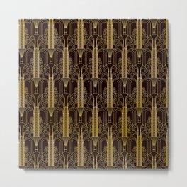 Glam Gold Art Deco Ornate Pattern Metal Print