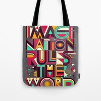 imagination Tote Bags featuring IMAGINATION by dzeri29