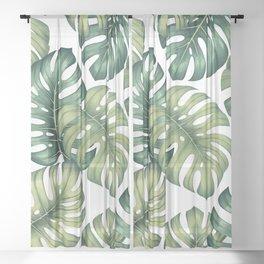 Monstera botanical leaves illustration pattern on white Sheer Curtain