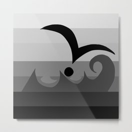 Seagull and Wave - Gray Graphic Metal Print