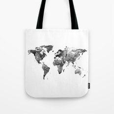 World map, Black and white world map Tote Bag