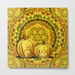 Halloween pumpkins and fall kaleidoscope Metal Print