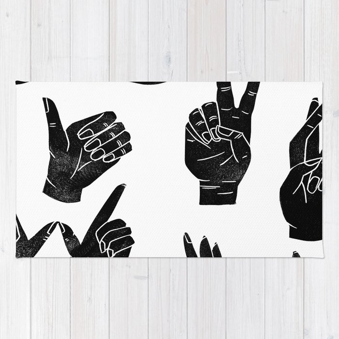 Linocut Sign Language Black And White Minimal Hand Symbols