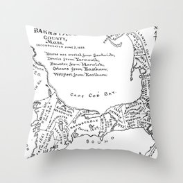 Vintage Map of Cape Cod (1890) Throw Pillow
