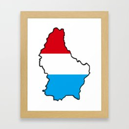Luxembourg Map with Luxembourger Flag Framed Art Print