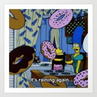 simpsons Art Prints featuring Simpsons - Doughnuts by Katieb1013